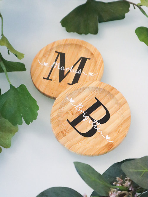 Tassenuntersetzer Bambus personalisiert