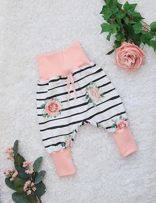 Jersey Pumphose (stripes & roses)
