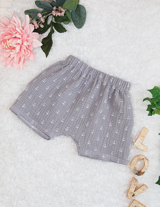 Lockere Musselin-Shorts (grau/weisser Anker)