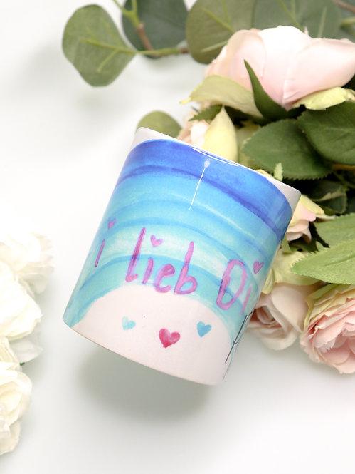 Tasse bedruckt mit Zeichnung