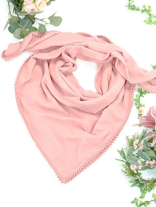 Musselin-Schal mit Pomponborte
