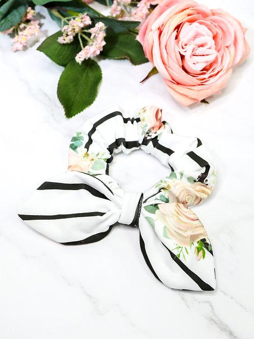 Scrunchie Jersey mit Schleife (stripes & flowers)