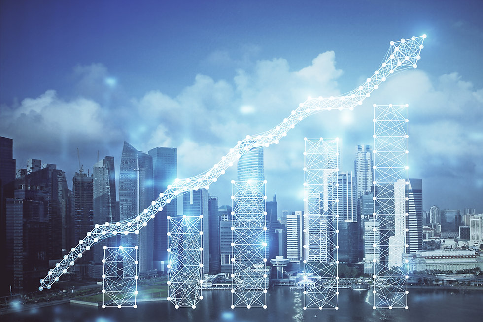 Forex chart on cityscape with skyscrapers wallpaper multi exposure. Financial research con