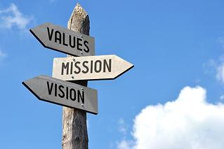 """Values, mission, vision"" - wooden signp"