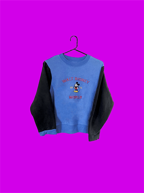 (S) Vintage Custom Mickey Crop Sweatshirt