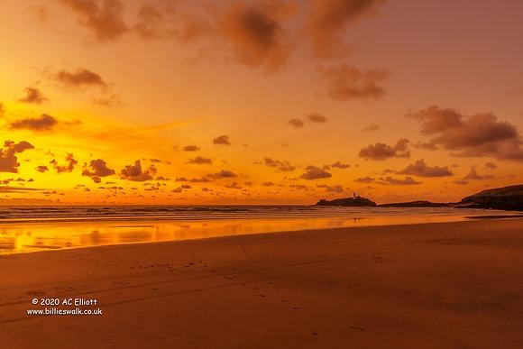 Godrevy Beach and Lighthouse sunset