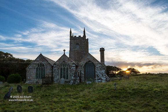 Lelant's St Uny Church at sunset photo and fine art print