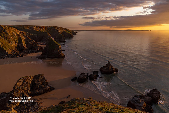 The iconic Bedruthan Steps at golden hour photo and fine art print