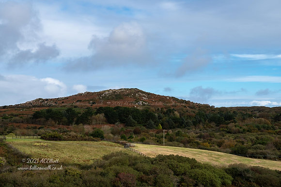 Distant view of Trencrom Hill photo and fine art print