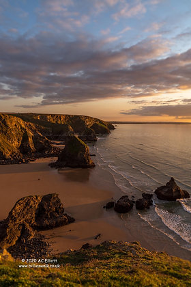 A portrait of Bedruthan Steps at golden hour photo and fine art print