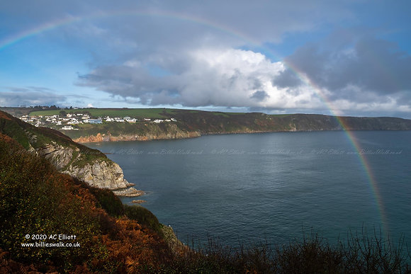 Rainbow arcing over Gorran Haven and the sea photo and fine art print