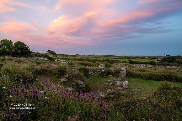 Carn Euny ancient village sunset