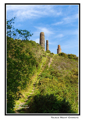 Tolgus Mount Chimneys Greeting Card