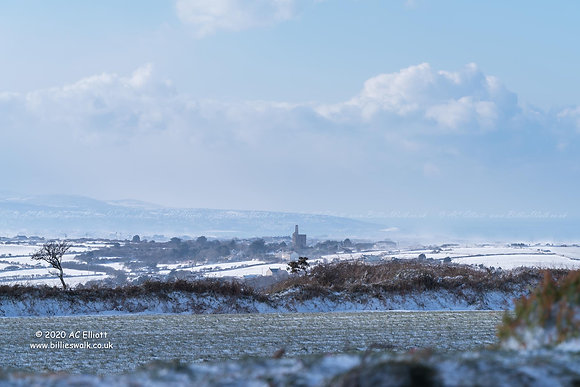 Snowy Cornish countryside towards St Ives Bay photo and fine art print