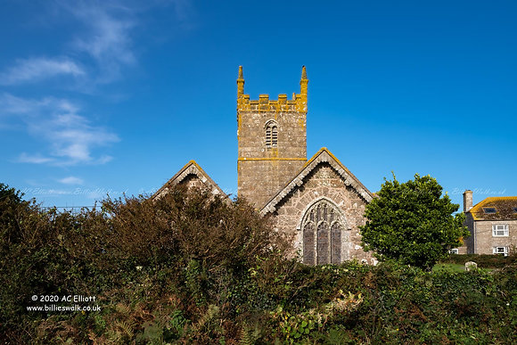A blue sky day at St Sennen Church in Sennen photo and fine art print