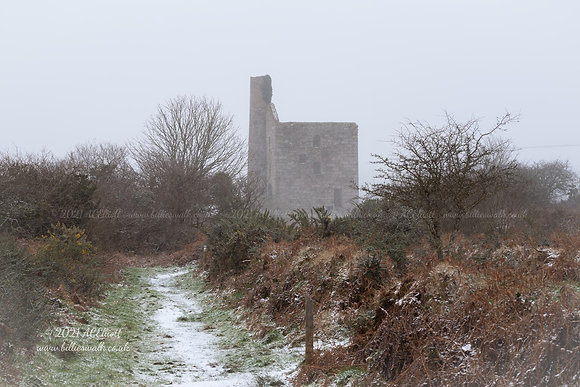 Wheal Grenville Mine along a snowy path photo and fine art print