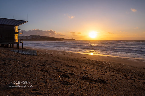 Sunset over Fistral Beach photo and fine art print