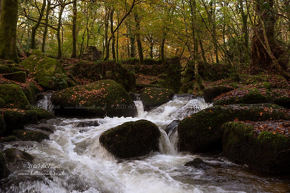 River Kennall over mossy stones photo and fine art print