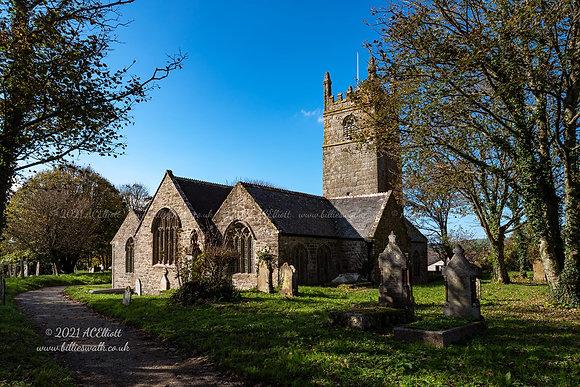 St Sithney Church on a blue sky day photo and fine art print