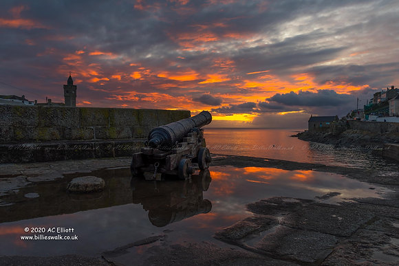 Porthleven sunset cannon