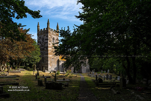 St Wynwallow Church at Landewednack on the Lizard Photograph and Fine Art Print