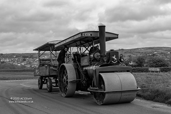 Steam Roller near Redruth in black & white photo and fine art print
