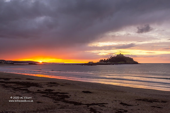 Christmas sunrise at St Michael's Mount photo and fine art print