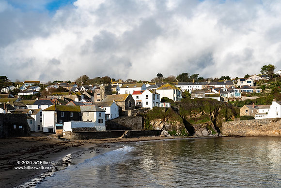 Gorran Haven viewed across the harbour photo and fine art print