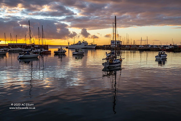 Penzance Harbour under a stunning sunrise photo and fine art print