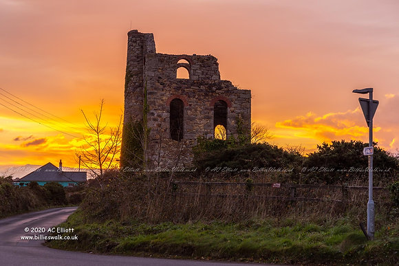 A glorious sunset behind South Tincroft Man Engine photo and fine art print