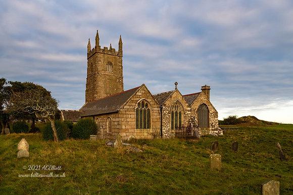 Soft light on the beautiful St Uny Church photo and fine art print