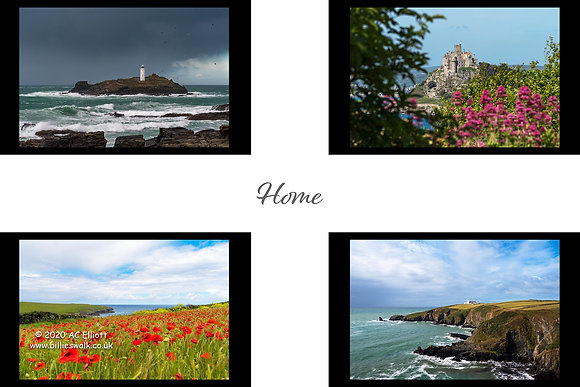 St Piran Flag 'Home' four images of Cornwall Fine Art Print