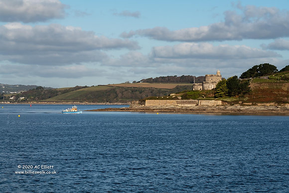 An passenger boat passing St Mawes Castle photo and fine art print