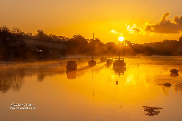 Misty sunrise behind boats on Mylor Creek  Photograph and Fine Art Print