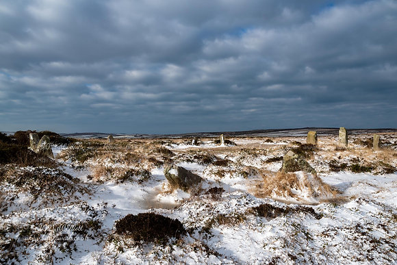 Boskednan Stone Circle in the snow photo and fine art print