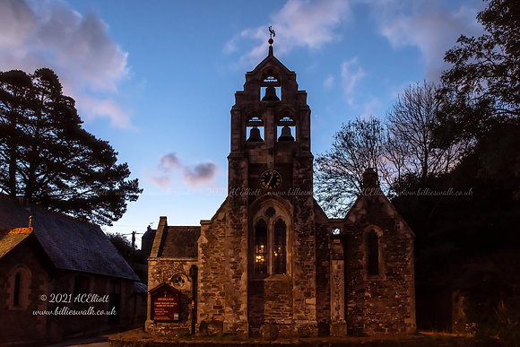 A pre sunrise view of Holy Trinity Church at Tresillian photo and fine art print