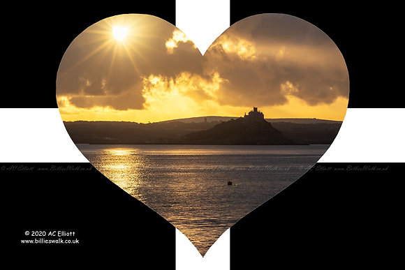 St Michael's Mount sunrise silhouette set into a St Piran's Heart photo and fine art print