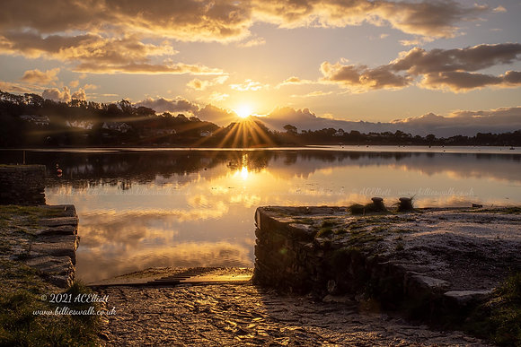 Sunrise reflections in Restronguet Creek at Point photo and fine art print