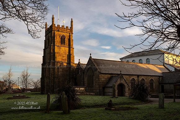 Frosty Camborne Parish Church photo and fine art print