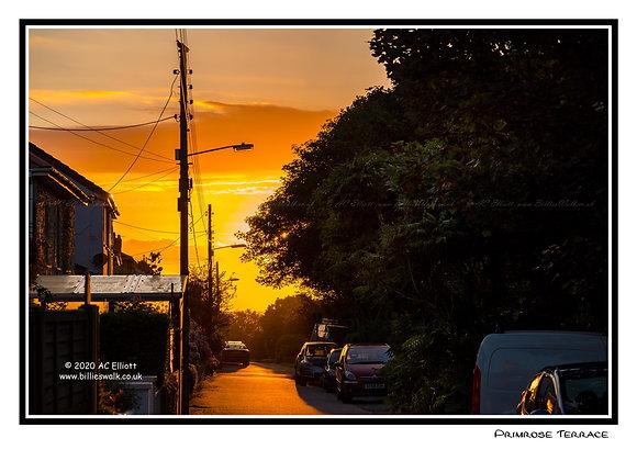 Primrose Terrace, Portreath sunset Greeting Card