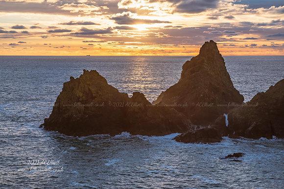 Rocks at Kynance Cove sunset photo and fine art print