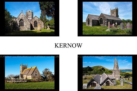 Choose any Four Cornish Churches set into a St Piran's Flag photo and fine art print