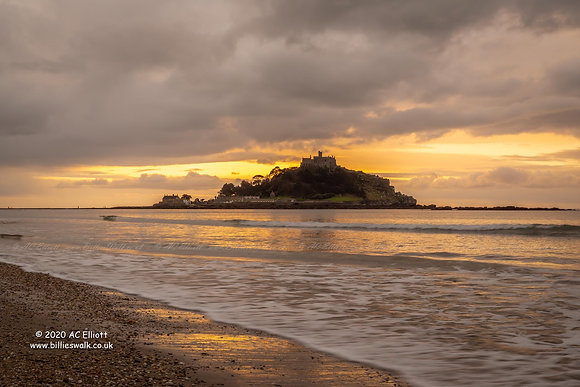 Gentle waves, St Michael's Mount and a sunrise sky photo and fine art print