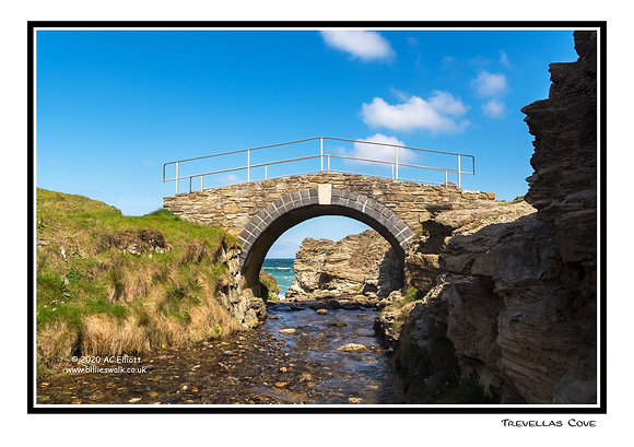 Trevellas Cove bridge over a stream Greeting Card