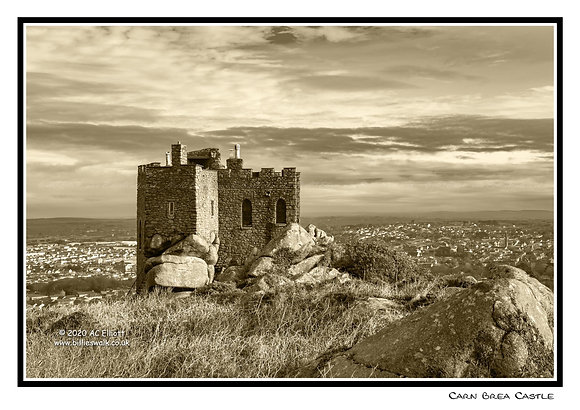 Carn Brea Castle sepia Greeting Card