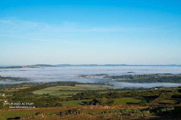 Mist hanging over Tavistock, Devon photo and fine art print