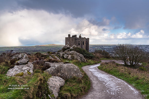 Frosty lane leading to Carn Brea Castle photo and fine art print