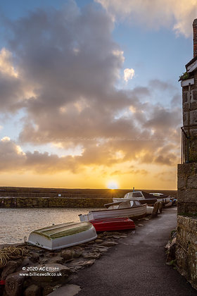 A big beautiful sunrise sky at Mousehole photo and fine art print