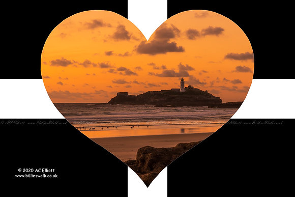 Godrevy Lighthouse set with a St Piran's Heart photo and fine art print