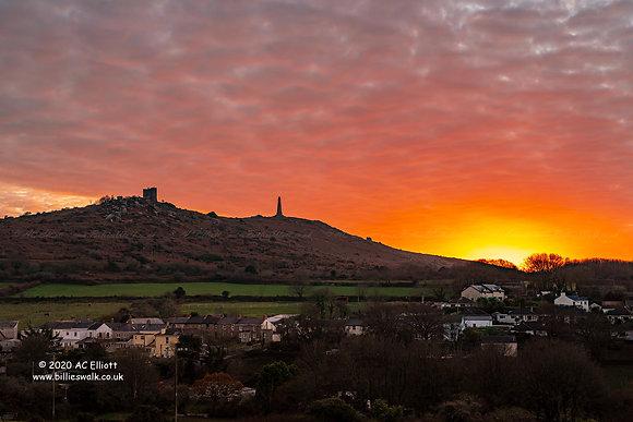 Mackerel sunset sky over Carn Brea photo and fine art print